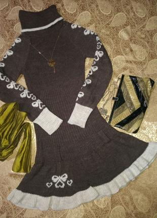 Платье-свитер Parkhand теплое вязанное с воротом р. XS, S
