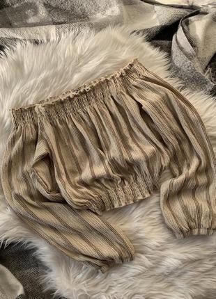 Топ на плечи рукава фонарики кроп топ блуза в полоску