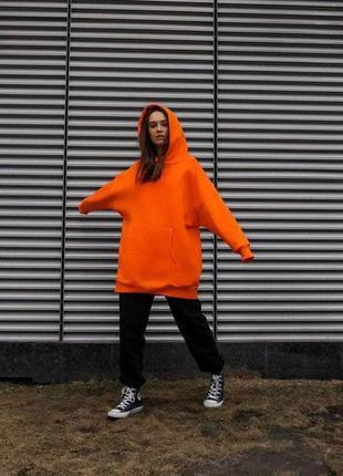 Платье-худи на флисе оранжевый
