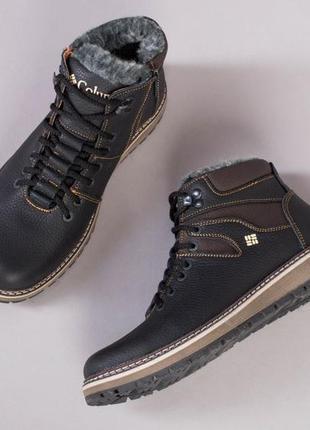 Зимние кожаные мужские ботинки на шнурках коричневые 💥