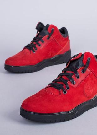 Мужские зимние ботинки из нубука красные💥