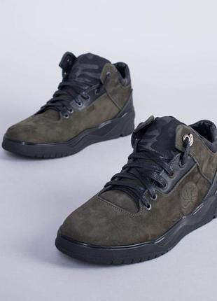 Мужские зимние ботинки из нубука оливкового цвета 💥