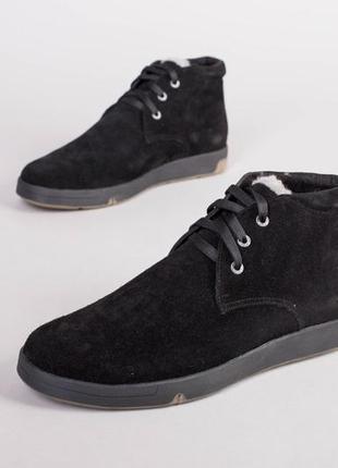 Зимние ботинки черная замша 💥