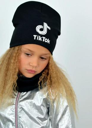 Комплект шапка и хомут, черный цвет, утепленный, принт светитс...