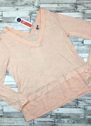 Скидки! италия! персиковая блуза с вырезом, блузка с трикотажем,