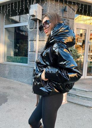 Куртка пуховик из экокожи в стиле zara  черный глянцевый