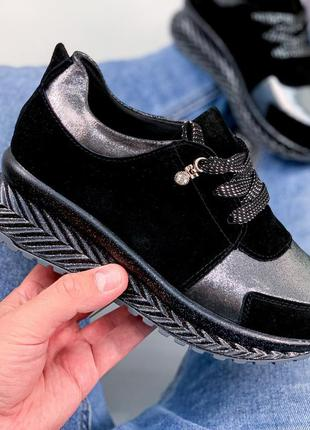 ❤ женские черные замшевые кожаные кроссовки ❤