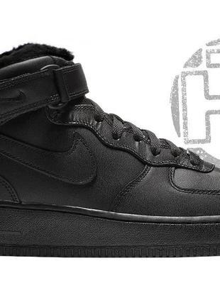 Мужские кроссовки nike air force 1 mid triple black leather (с...