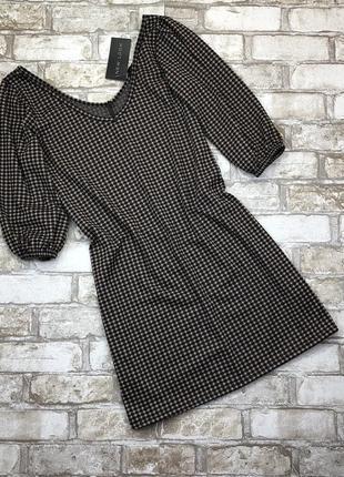 Стильная удлиненная блуза, туника в клетку,