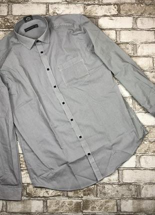 Хлопковая мужская рубашка с длинным рукавом