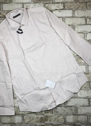 Хлопковая рубашка с длинным рукавом в полоску