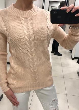 Лёгкий пудровый свитер джемпер свитерок с косами. cropp.