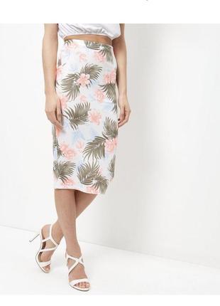 Актуальная яркая юбка карандаш с цветами, длина миди, по фигуре