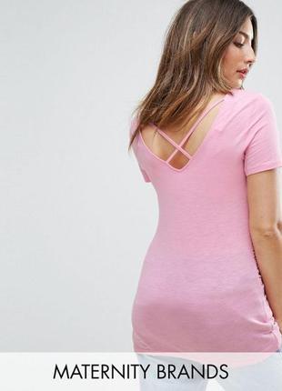 Хлопковая трикотажная футболка для беременных, топ удлиненный ...