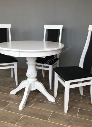 Стол круглый раскладной. Обеденный кухонный стол. Комплект сто...