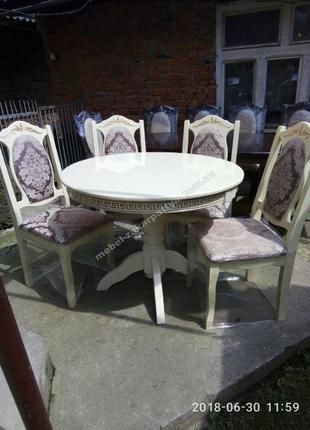 Стол кухонный раскладной круглый. Обеденный стол и стулья на к...