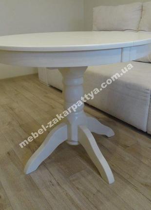 Стол обеденный деревянный. Кухонный круглый раскладной. Белый ...