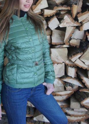 Пуховая куртка италия с поясом анорак, пуховик, приталенная ст...