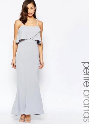 Нежное вечернее платье в пол рыбка, макси с воланом, платье ма...
