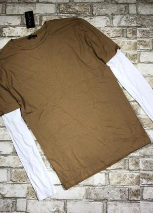 Мужской хлопковый трикотажный реглан, футболка с длинным рукавом,