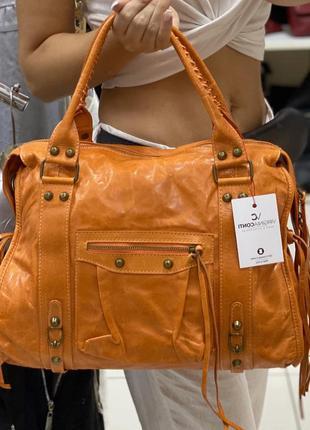 Кожаная оранжевая сумка шкіряна жіноча сумка велика сумка из н...