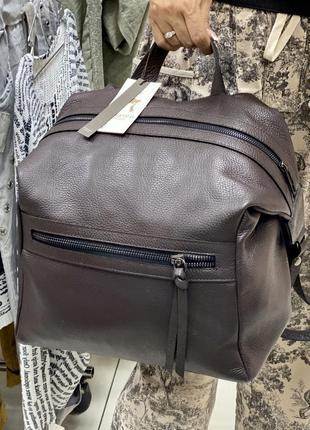Коричневый кожаный рюкзак итальянский рюкзак шкіряний рюкзак