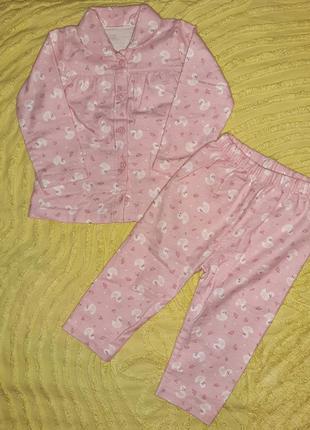 Пижама флисовая для  девочки  86 см  george  теплая