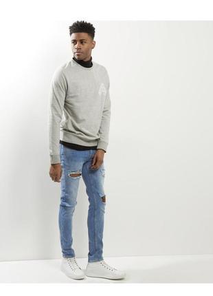 Актуальные мужские рваные джинсы скинни стрейч, зауженные штан...