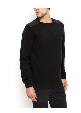 -35% на все! стильный вязаный свитер мужской, чёрный классичес...