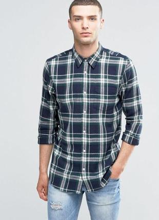 Стильная мужская рубашка хлопковая в клетку с карманом, байковая