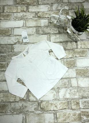 Белый хлопковый реглан нарядный, блуза на девочку с оборками а...