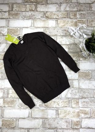 Стильный вязаный джемпер классический хлопковый свитер под руб...