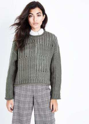 Вязаный свитер оверсайз шерстяной, объёмный джемпер тёплый