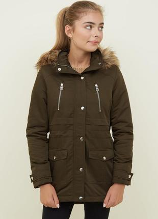 Стильная парка тёплая с мехом и капюшоном, куртка демисезонная,