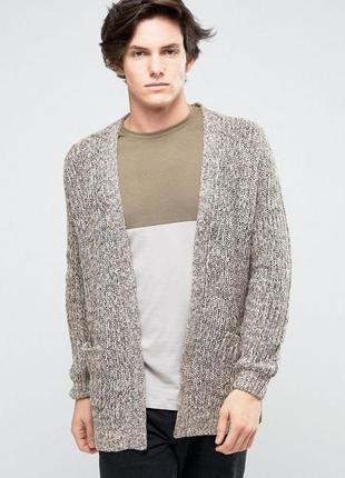 Тёплый мужской вязаный кардиган меланж, кофта с карманами, new...