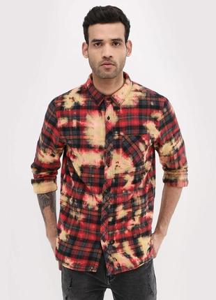 Очень тёплая стильная мужская рубашка в клетку, байковая хлопк...