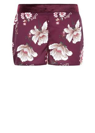 Атласные шорты в цветах для дома, домашние, пижама