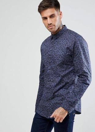 Стильная мужская рубашка с принтом, хлопковая длинный рукав