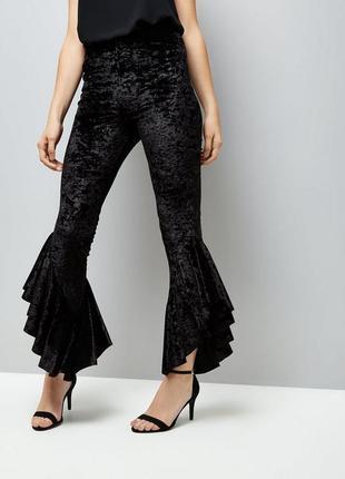 Трендовые велюровые штаны с рюшами, зауженные брюки с воланами...