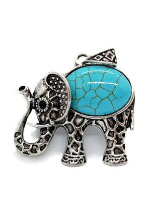 """🐘💙 кулон с натуральным камнем бирюза """"слон"""" подвеска слоник"""