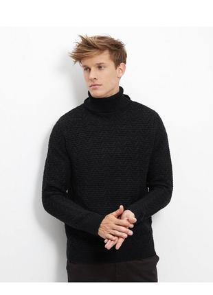 Тёплый вязаный свитер под горло мужской, джемпер объёмный