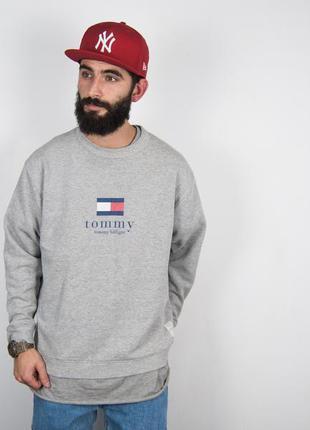 Tommy hilfiger винтажный свитшот с большим логотипом толстовка...