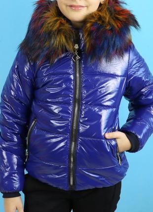 Курточка синяя с меховым воротником для девочки