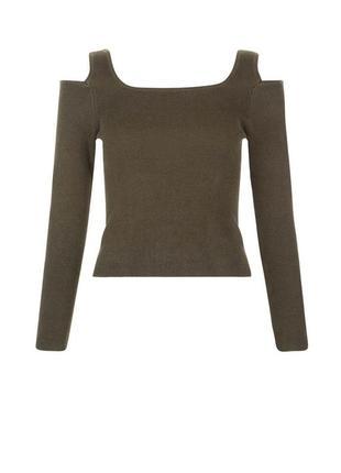 Стильный джемпер в рубчик с открытыми плечами, свитер реглан