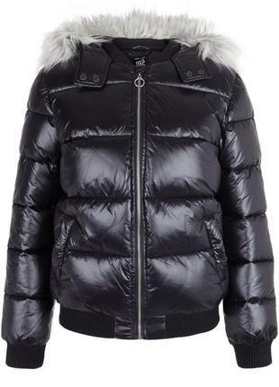 Крутая тёплая куртка дутая new look с капюшоном и мехом, демис...