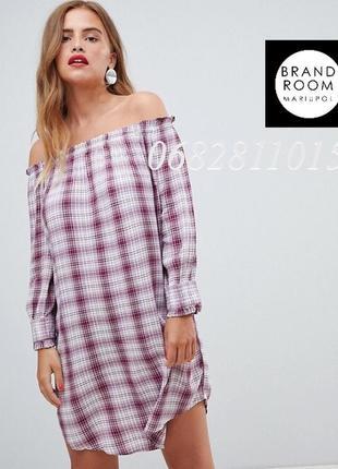 Стильное платье с открытыми плечами из вискозы в клетку, туник...
