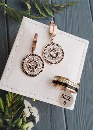 Комплект серьги +кольцо позолота
