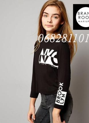 Трикотажный реглан на девочку с принтом, футболка с рукавом, л...