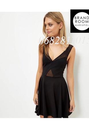 Вечернее платье с сеточкой чёрное, юбка клёш, строгое приталенное
