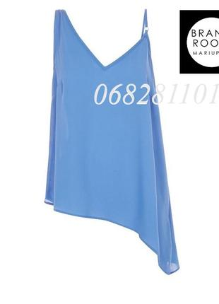 Яркая блуза ассиметричная, топ воздушный удлиненный
